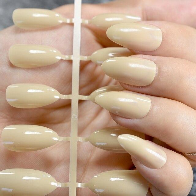 24Pcs Shiny Natural Candy Short Stiletto Nails DIY Nail Art Acrylic ...