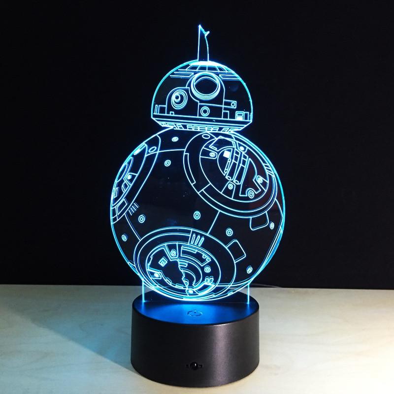 Cadeaux Créatifs Star Wars Lampe 3D Night Light Robot USB Led Table - Veilleuses - Photo 2