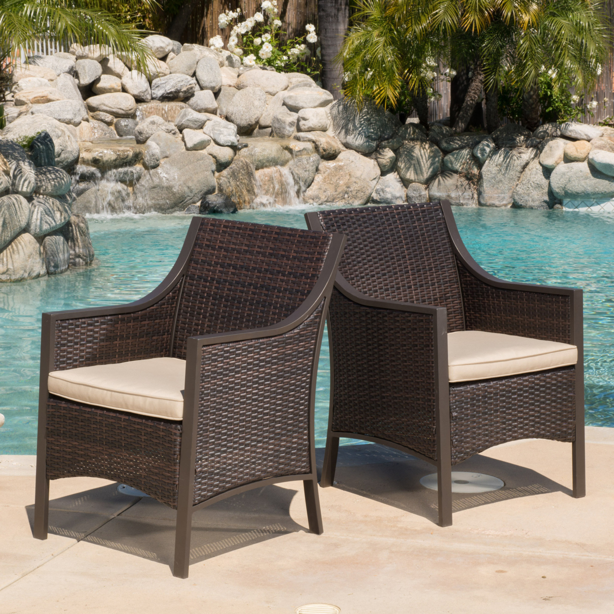 Orchard Outdoor Brown Wicker Dining Chair w/ Cushion (Set of 2) brown wicker outdoor lounge chair set with corner table sale