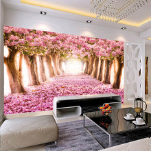 Customized large 3D mural seamless wallpaper with forest trees flower scenery behind TV sofa background in the living room