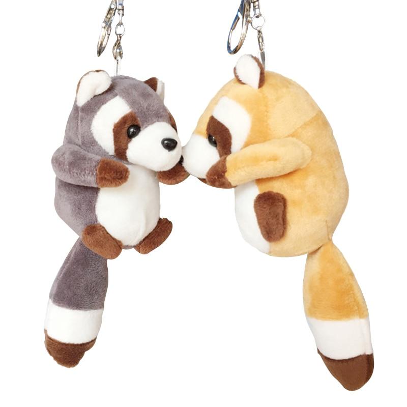 1pc 10cm Small Cute Raccoon Plush Bag Pendant Kawaii Staffed Raccoon Animal Plush Key Chains Baby Children Doll Birthday Gift
