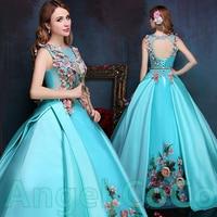 Vestido De Festa Ice Blue Long Party Dress Long Evening Dresses Dimensional Flowers Floor Length Prom