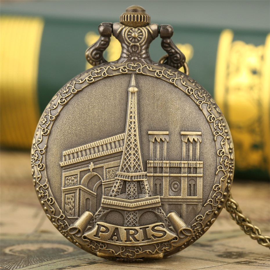 Famous Building Paris Eiffel Tower Display Quartz Pocket Watch Vintage Bronze Necklace Pendant Souvenir Clock Fob Chain
