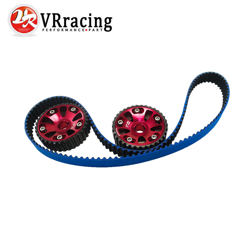 VR RACING - HNBR Racing Timing Belt  Blue + Aluminum Cam Gear Red FOR B18C Integra GSR / Type-R  VR-TB1003B+6532R vr racing hnbr racing timing belt
