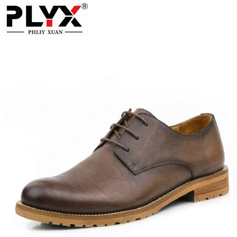 PHLIY XUAN British Style New 2018 Men Oxfords Genuine Leather Mens Casual Shoes 100% Handmade Chaussure Homme De Marque 2016 new british style brand classic men s oxfords shoes mens dress business shoes fats 100% genuine leather shoes free shipping