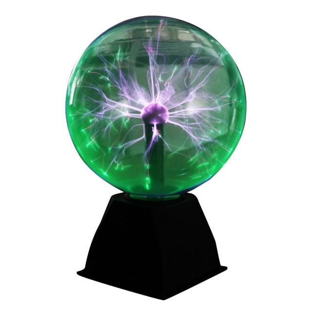 מנורות מנורת גלוב חשמלי סטטי כדור פלזמה סאונד רגיש 8 Inch כדור זכוכית מנורת לילה אור חידוש צעצוע לילדים פלזמה