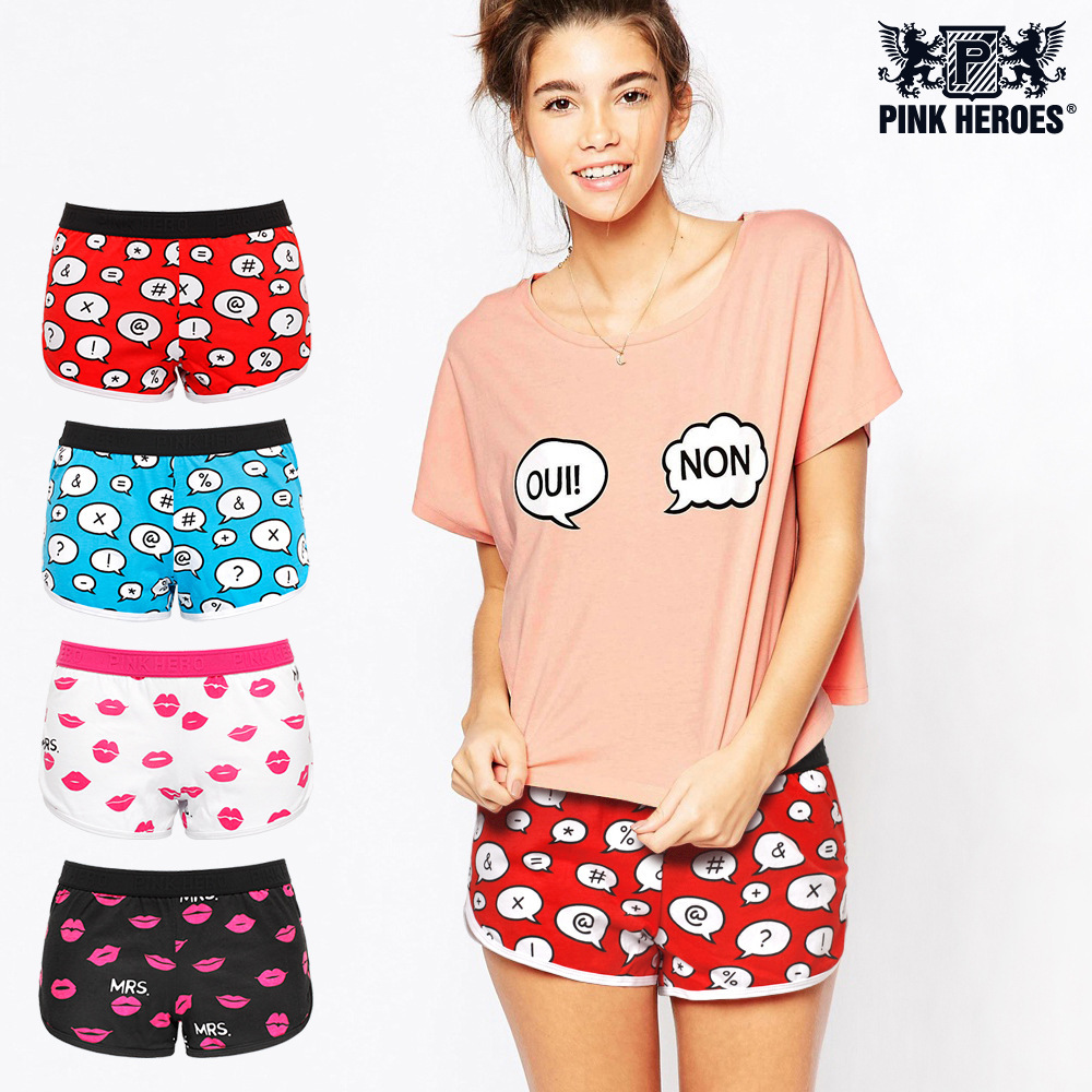 Fashion Cartoon Printing Live Family Woman Underpants Full Cotton Plain Weave Womens Arrow Pants sexy panties underwear women