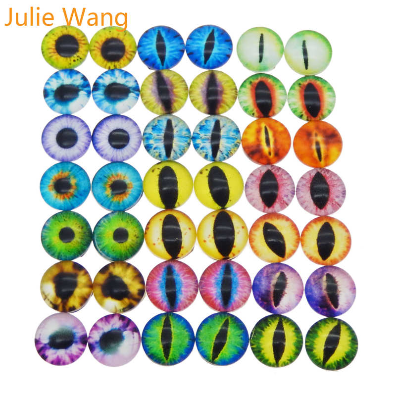 Julie Wang 50PCS 6/8/10mm Dragon Eyes Cabochons Flatback Glass Lizard Frog Vivid Eyes Round Charms Bracelet Jewelry Accessory(China)