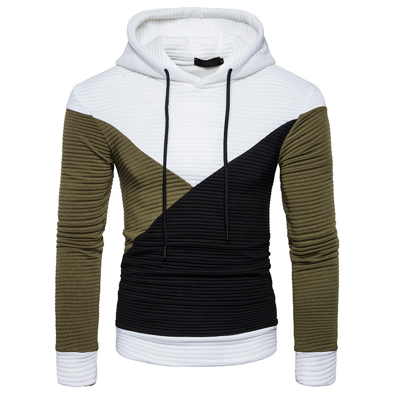 New Mens Fashion hoodie sweatshirt Casual hoodies Cotton High quality Stitching Color Pullover long sleeve hooded
