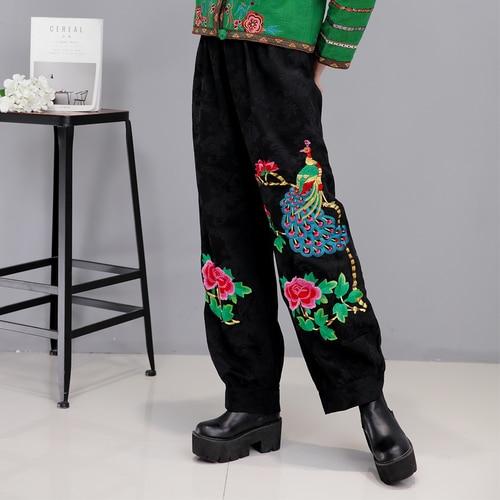 Mujeres Cintura Estilo Más Invierno E Alta Harem Suelta De Pantalones peacock Vintage Tamaño Otoño Étnico Bordado Lotus RzwFqF6