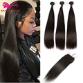 Peruvian Virgin Hair Straight 3 Bundles With Lace Closure Unprocessed Human Hair Weave Bundles With Lace Closure All Part