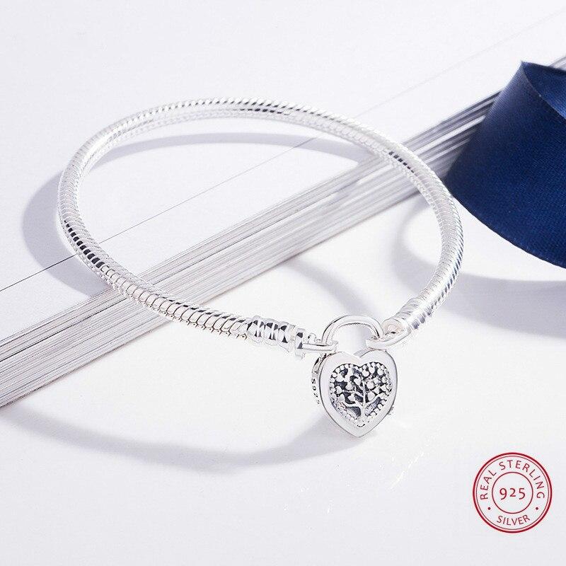 925 Sterling Silver snack chain bracelets for women s925 Original Love Couple Heart Padlock Charm bracelet fine Women Jewelry