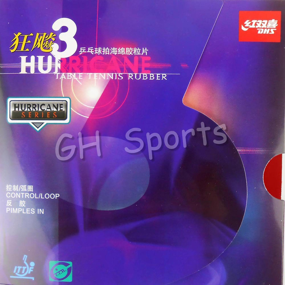 DHS Hurricane 3 (Control / Loop) Pips-in Table Tennis (PingPong) Rubber With Sponge (2.0mm) [playa pingpong] andro revo fire pips in table tennis pingpong rubber with sponge