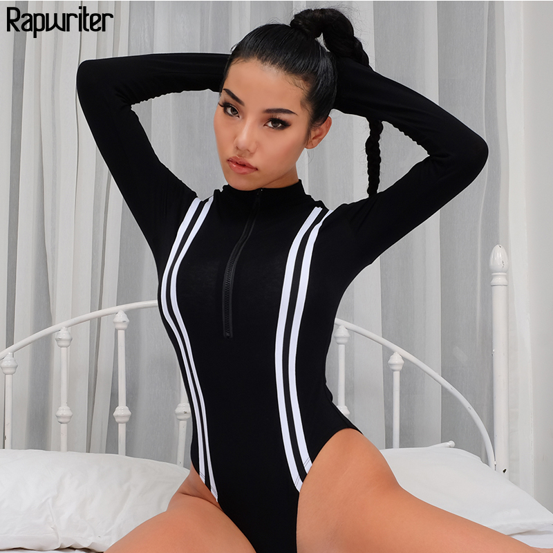 Rapwriter Sexy Slim Turtleneck Middle Zipper Striped Patchwork Skinny Bodysuit Women 2019 Long Sleeve Sheer Open Crotch Bodysuit