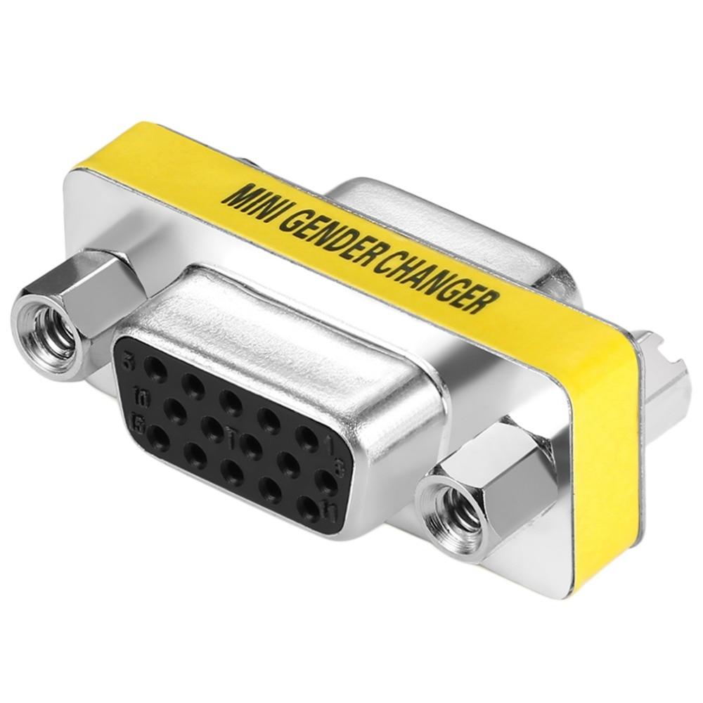 Wholesale 1pc/ 5pcs/10pcs New Female to Female VGA HD15 Pin Gender Changer Convertor Adapter In stock цена