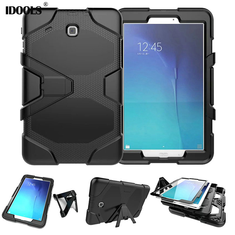 3 in 1 Hybrid Heavy Duty Shockproof Dual Layer Military Armor Back Case For Samsung Galaxy Tab E 9.6 T560 SM T560 T561 IDOOLS