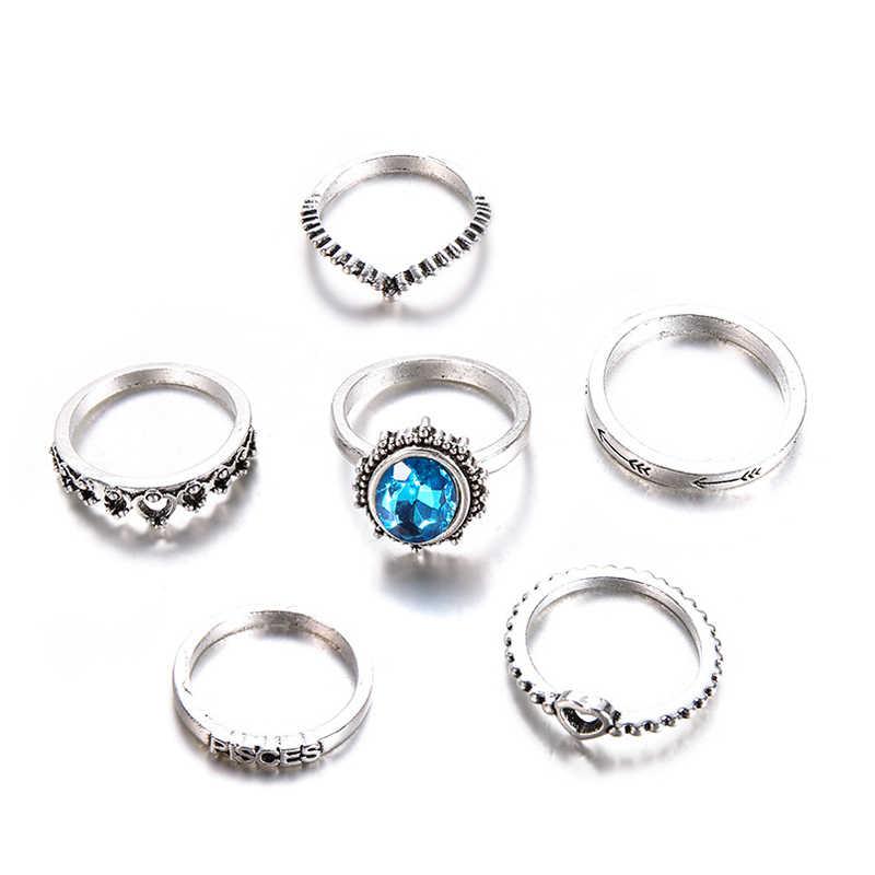 2018 New Tribal Bạc Màu Thái Nhẫn Tim cho Phụ Nữ Cổ Điển Màu Xanh Rhinestone Knuckle Midi Nhẫn Nhẫn Set Statement Jewelry 6 cái