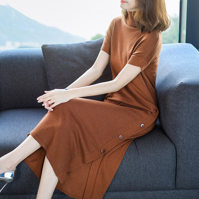 Spring New Dress Women Bare thigh Sexy Side slit Dresses Wool Knit Plus Longer Turtleneck fashion 3Colors Female Dress