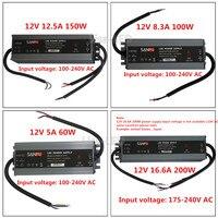 LED Kaliteli ultra-ince su geçirmez güç kaynağı IP67 12/24 V DC trafo 60 W/100 W/150 W/200 W, 2A 4A 5A 6A 8A 12A 16A