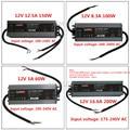LED Kwaliteit ultra-dunne waterdichte voeding IP67 12/24 V DC transformator 60 W/100 W /150 W/200 W, 2A 4A 5A 6A 8A 12A 16A