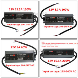 LED Quality ultra-thin waterproof power supply IP67 12 / 24V DC transformer 60W / 100W / 150W / 200W, 2A 4A 5A 6A 8A 12A 16A