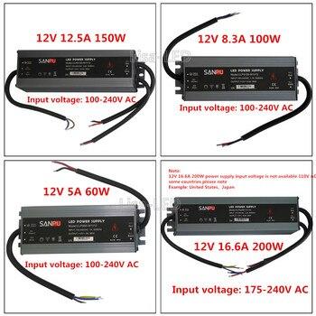 цена на LED Quality ultra-thin waterproof power supply IP67 12 / 24V DC transformer 60W / 100W / 150W / 200W, 2A 4A 5A 6A 8A 12A 16A