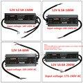 LED calidad ultra-Delgado resistente al agua fuente de alimentación IP67 12 V/24 V DC transformador 60 W/100 W /150 W/200 W 2A 4A 5A 6A 8A 12A 16A