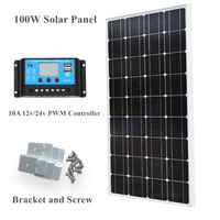 100W 12V PV Power Solar Panel Module & 10A CMG LCD Controller for Yacht Home Kit solar energy system solar cell solar panel
