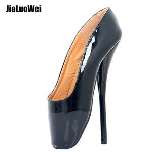 Image 1 - 女性女王バレエスパイクハイヒールスリップオンパテントレザーブーツセクシーなフェチ指摘パンプスダンスパーティー結婚式靴