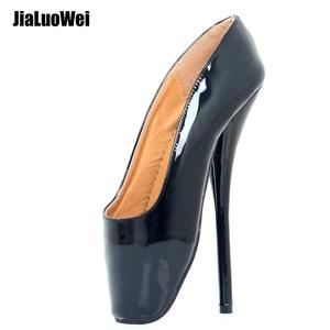 Image 1 - Feminino rainha ballet pico saltos altos deslizamento on botas de couro patente fetiche sexy apontou toe bombas dança festa sapatos de casamento