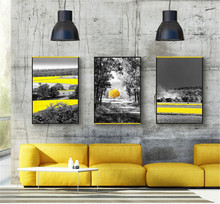 Yellow Landscape Nordic Poster Modern Scenery Wall Art Canvas Painting Tram Pictures For Living Room Home Decor Unframed