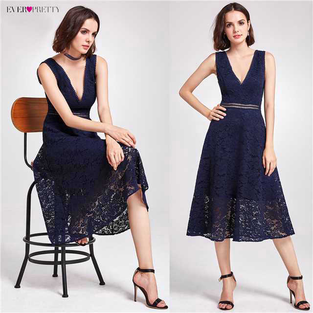 תחרת קוקטייל שמלות אי פעם די AS05919 אלגנטי V-צוואר גבוה מותן תה אורך אופנתי מפלגה משתלמת שמלות לנשים
