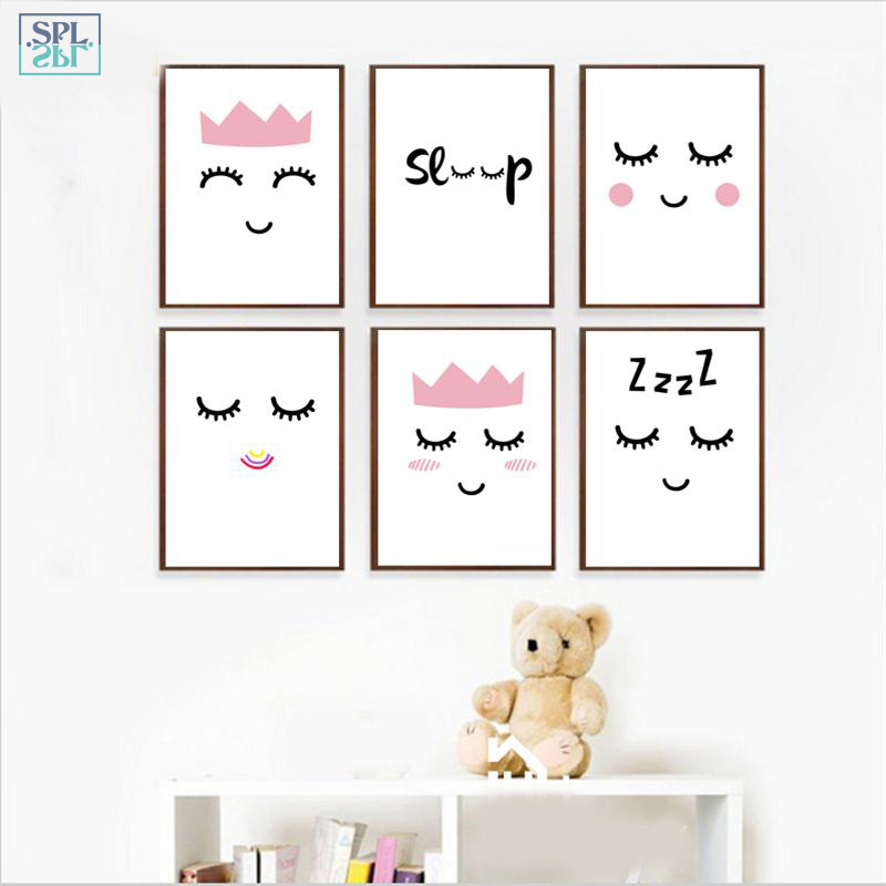 SPLSPL Unframed Sleep Eye Abstract Hand Drawn Wall Art Canvas Painting Print Posters and Pictures Cartoon Kids Room Decor
