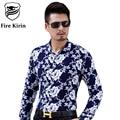 Kirin fogo Camisa Dos Homens 5XL 6XL Homens Plus Size Floral Impressão camisa de Algodão Camisas Dos Homens 2017 Marca de Moda de Seda Chemise Homme T200