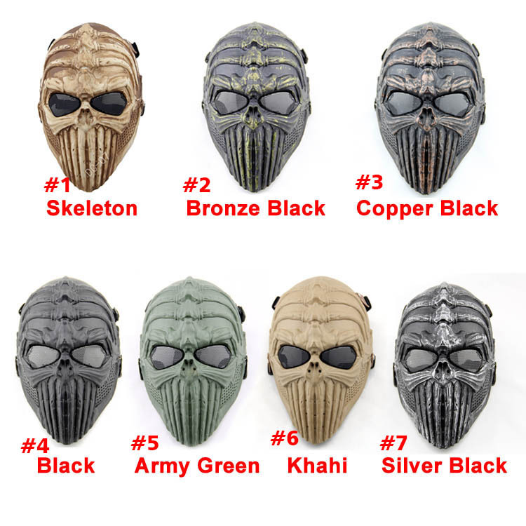 New Spine Tingler Skull Skeleton Full Face Airsoft Paintball Cosplay Mask For halloween  ...