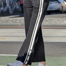 2ca1418bf سمير سراويل تقليدية النساء 2019 الصيف جديد فضفاض بنطال ذو قصة أرجل واسعة  الإناث عالية الخصر ثنى الشعور رقيقة التباين اللون الريا.