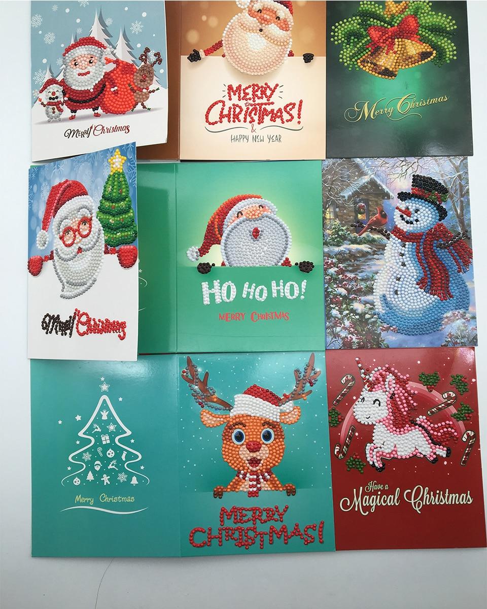 5d diy diamond painting christmas card cartoon paper