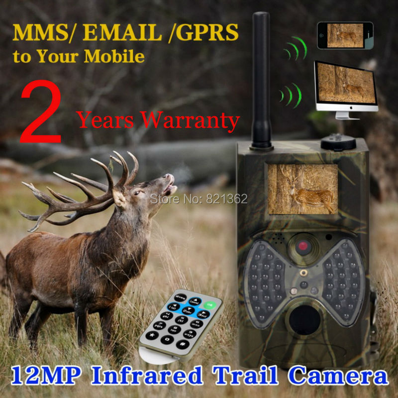 12MP HD Wireless Deer Hunting Game Camera MMS GSM Hunter Cameras Free ship the smallest mini size hunting game cameras portable mini wild cameras mini hunter scouting cameras free ship