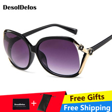 DD Retro Oversized Oval Sunglasses Women Luxury Brand Classic Vintage Camellia Ladies Glasses Shades goggles Oculos UV400