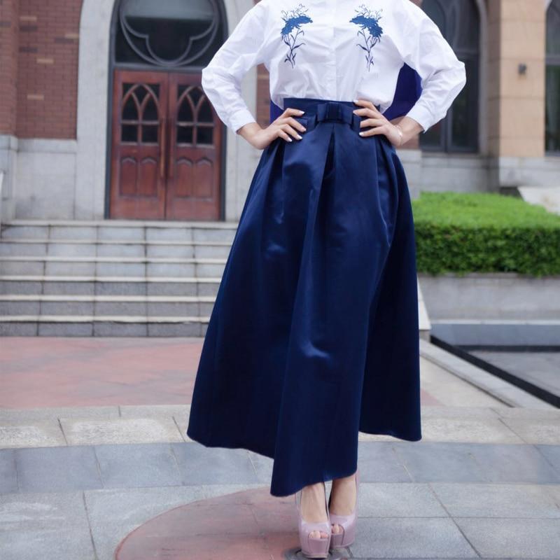 Plus Size Skirts Faldas Mujer Moda 19 Abaya Dubai Turkish Long Pleated Maxi High Waist Skirt Women Jupe Longue Femme Skirts 12