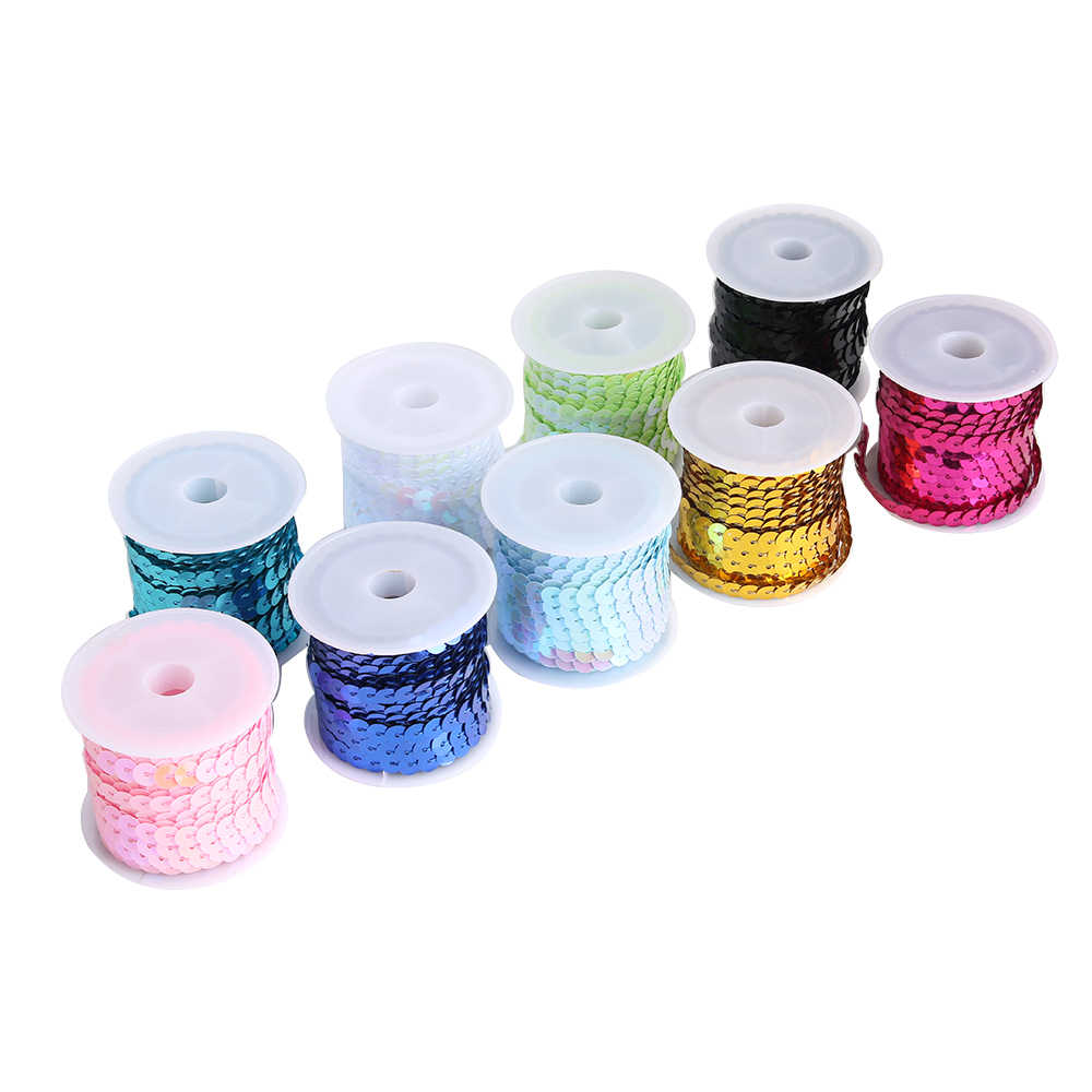 New DIY 5 Yards 6mm Faceted Loose Sequins Paillettes Pick DIY Jewelry Sewing Sequin Sewing Craft  DIY Wedding Decoration