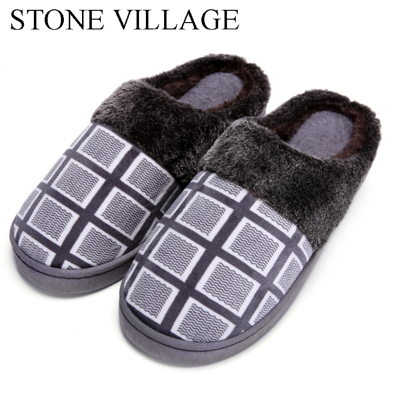 New Arrival Autumn Winter Plaid Print Cotton Slippers Men Plush Warm Home Slippers Fur Slippers Soft Indoor Shoes Women Slippers big size44 warm home slippers women bedroom winter slippers cartoon slippers fur slides autumn lovers female indoor soft bottom