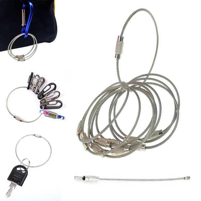 5Pcs EDC keychain tag rope Stainless steel wire cable loop outdoor ...