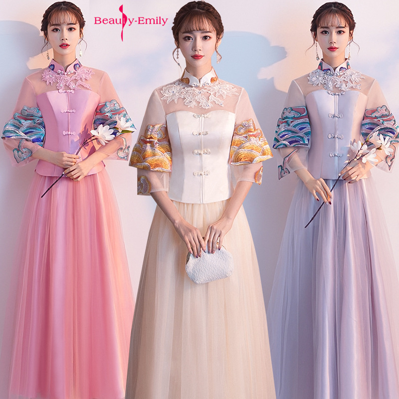 Beauty Emily Lace Appliques High Neck Bridesmaid Dresses Chinese Style Half Sleeve Tulle Party Dress Pleated Robe De Mariée