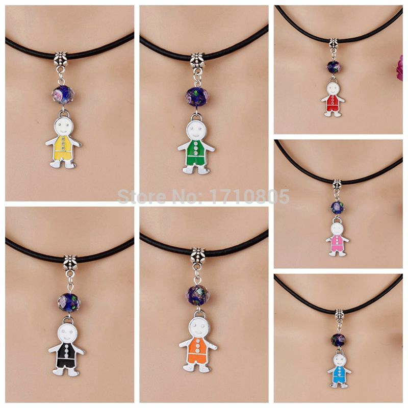 Hot 10pcs/lot Drop Glaze Multicolor Sunflowe Boy Girl Flower Bead Charm 19 Kind Pendant Leather Necklace Women Jewelry Gift G811