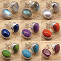 0.9 cm MOONSTONE & Other Gems Variation Stud Earrings, Silver Plated Over Solid Copper Jewelry Set