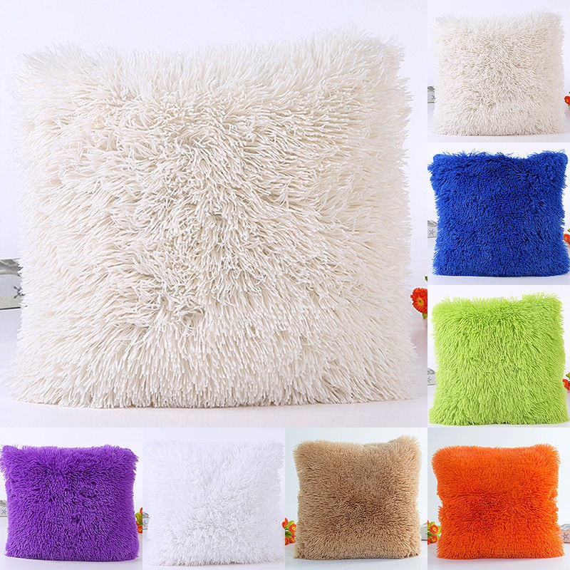 Artificial Fur Cushion Cover Hairy Faux Plain Fluffy Soft Washable Pillow Case Single/double-faced Plush Decor 45
