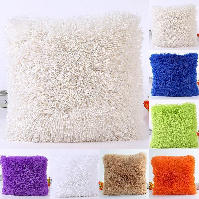 Artificial Fur Cushion Cover Hairy Faux Plain Fluffy Soft Washable Pillow Case Single/double-faced plush decor 45
