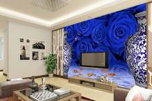 3d wallpaper Home Decoration Blue and white porcelain Blue Monster Blue Roses TV backdrop mural 3d wallpaper(China)