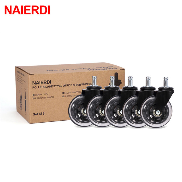 5PCS NAIERDI 3″ Universal Mute Wheel Office Chair Caster Replacement 60KG Swivel Rubber Soft Safe Rollers Furniture Hardware